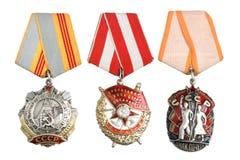 苏联被隔绝的命令和奖 免版税库存图片