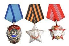 苏联被隔绝的命令和奖 免版税库存照片