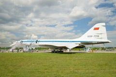 苏联超音速客机Tu144 USSR-77115 免版税库存图片