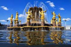 苏联,莫斯科,俄罗斯的人喷泉友谊会展中心的 库存图片