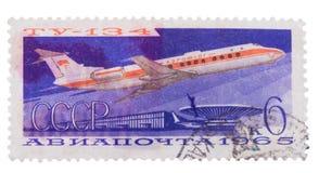 苏联-增加,邮票,在展示l达TU-134 av ap的封印 图库摄影