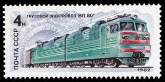 苏联-大约1982年:在苏联打印的邮票,展示一个电力机车Vl 80t,在1982-05-20,图象系列发布了  免版税库存图片