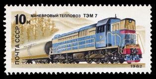 苏联-大约1982年:在苏联打印的邮票,展示一辆内燃机车T3M 7,在1982-05-20,图象系列发布了  免版税库存图片