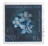 苏联-大约1971年:邮票在展示别针- bouque打印了 免版税库存图片