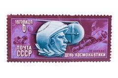 苏联-大约1977年:邮票在展示天打印了  免版税图库摄影
