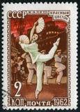 苏联- 1962年:显示从芭蕾红色花的一个情节,尊敬俄国芭蕾的系列 免版税库存图片