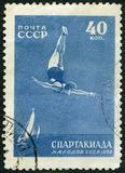 苏联- 1956年:潜水的展示,系列全联合Spartacist比赛,莫斯科 库存图片