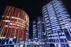 苏荷区三里屯办公楼在晚上,北京,中国 免版税库存图片