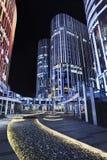 苏荷区三里屯办公楼在晚上,北京,中国 库存图片