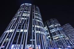 苏荷区三里屯办公楼在晚上,北京,中国 免版税图库摄影