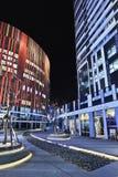 苏荷区三里屯办公楼在晚上,北京,中国 库存照片