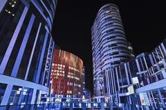 苏荷区三里屯办公楼在晚上,北京,中国 图库摄影