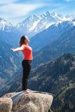 苏里亚Namaskara -太阳致敬是Hatha y一个共同的序列  库存照片