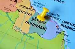 苏里南地图 库存照片