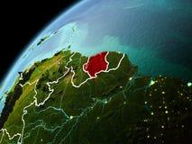 苏里南的晚上视图地球上的 免版税库存照片