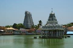 苏钦德拉姆寺庙致力神希瓦、Vishnu和Brahma Kanniyakumari,南印度 免版税库存图片
