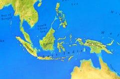 苏门答腊、婆罗洲、新几内亚和菲律宾地理地图  免版税图库摄影