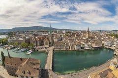 苏黎世瑞士鸟瞰图城市地平线 免版税库存照片