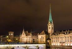 苏黎世在晚上-瑞士老镇 免版税库存照片