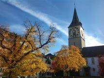苏黎世市地标-圣PeterÂ的 免版税库存照片
