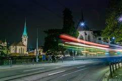 苏黎世市老镇在晚上 免版税库存照片