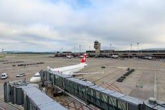 苏黎世机场在一多云天 免版税库存照片