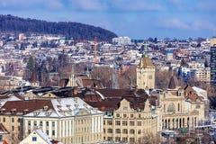 苏黎世都市风景在冬天 免版税库存照片