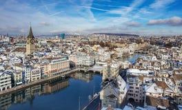 苏黎世都市风景在冬天 库存图片