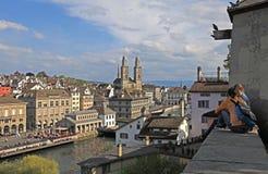 苏黎世都市风景,瑞士 免版税库存照片