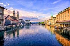 苏黎世,瑞士老镇日出的 免版税图库摄影