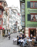 苏黎世, Schwitzerland, 2016年4月03日:餐馆在苏黎世市,瑞士 库存图片