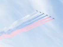 苏-25俄国旗子被绘在莫斯科 图库摄影