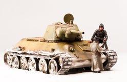 苏维埃t 34坦克乘员组止步不前  免版税库存照片
