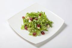 莴苣新鲜的沙拉用与果子片断的甜调味汁  免版税库存图片