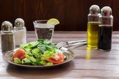 莴苣,蕃茄,黄瓜,午餐的鲕梨沙拉 免版税库存图片