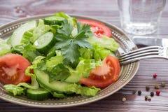 莴苣,蕃茄,黄瓜,午餐的鲕梨沙拉 免版税库存照片