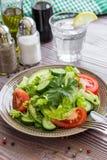 莴苣,蕃茄,黄瓜,午餐的鲕梨沙拉 库存图片