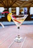苦艾酒鸡尾酒用在玻璃的柠檬 库存图片