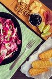 苦苣生茯沙拉用被设置的开胃菜 免版税图库摄影