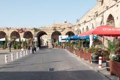 英亩老城市的商队投宿的旅舍可汗Ahawardh在以色列 免版税图库摄影