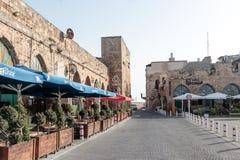 英亩老城市的商队投宿的旅舍可汗Ahawardh在以色列 免版税库存图片