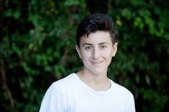 英俊棕色毛发青少年 免版税库存图片