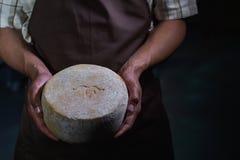 英俊的乳酪商检查在他的车间存贮的乳酪 库存图片