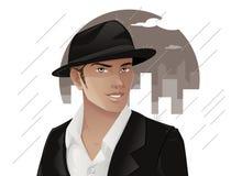 英俊的人佩带的帽子 库存图片