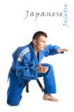 年轻英俊的人实践的jiu-jitsu 免版税库存图片