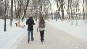 英俊的人步行在冬天公园 股票视频