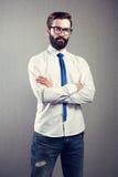 英俊的人画象有胡子的 免版税库存图片