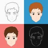 英俊的动画片面孔 库存例证