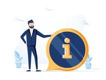 英俊的商人和信息标志 信息、常见问题解答、通知和广告概念 网页的横幅 皇族释放例证