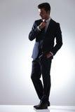 英俊的商人定象暗藏的领带 免版税库存图片